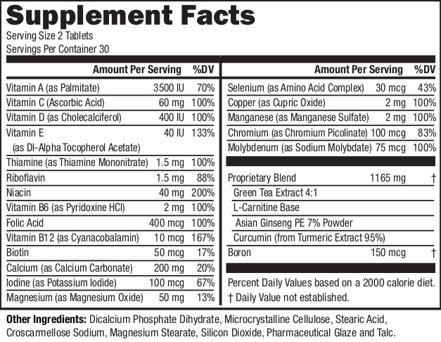 NeoVitin Original Supplement Facts